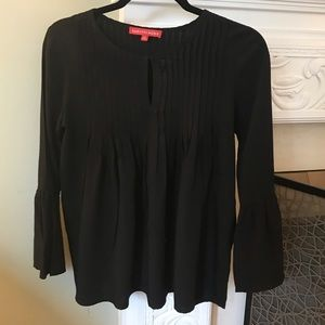 Saks Fifth Ave Black pleated blouse w bell sleeve